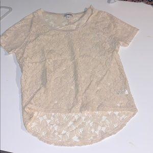 Express Lace Overlay Short Sleeve Shirt Size XS